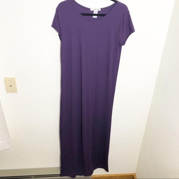 Plus Size Royal Purple Soft T Shirt Maxi Dress